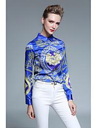 cheap -Women's Work Polyester Shirt - Striped, Print Shirt Collar
