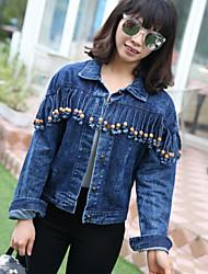 cheap -Women's Cotton Denim Jacket - Solid Colored, Stylish Shirt Collar