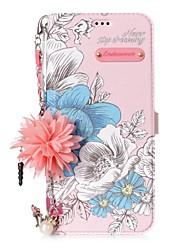 Недорогие -Кейс для Назначение SSamsung Galaxy S8 Plus S8 Бумажник для карт со стендом Флип С узором Своими руками Цветы Твердый для