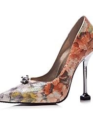 preiswerte -Schuhe Kunstleder Frühling Sommer Pumps High Heels Stöckelabsatz Spitze Zehe Strass für Hochzeit Kleid Orange Silber