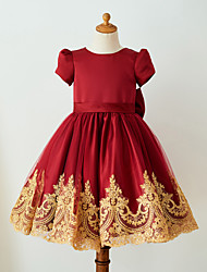 cheap -Ball Gown Knee Length Flower Girl Dress - Satin Tulle Short Sleeves Jewel Neck with Bow(s) Lace by LAN TING Express