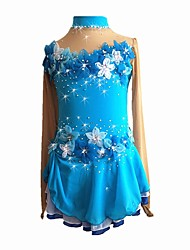 abordables -Robe de Patinage Artistique Fille Patinage Robes Bleu royal Elastique Débutant Professionnel Tenue de Patinage Floral/Botanique Strass