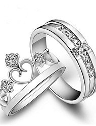 cheap -Couple's Cubic Zirconia Crown Couple Rings - 2pcs Crown Fashion White Ring For Gift / Valentine