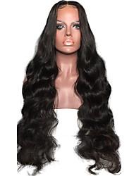 levne -Přírodní vlasy Brazilské vlasy Krajka paruka Vlnitá Vlnité Přírodní vlny Dětské vlasy Krajka vpředu Nezpracované 100% Panna Boční část
