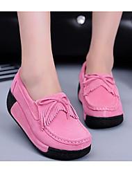 preiswerte -Damen Schuhe Nubukleder Frühling Herbst Komfort Loafers & Slip-Ons Creepers für Schwarz Grau Fuchsia Blau Rosa