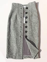 cheap -Women's Daily Midi Skirts,Casual Bodycon Linen Print Autumn/Fall