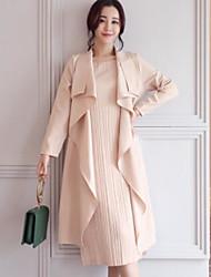 abordables -Set Robes Costumes Femme,Couleur Pleine Quotidien Sortie Décontracté Automne Manches longues Col de Chemise Couleur unie Polyester