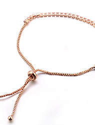 baratos -Mulheres Cristal Pulseiras em Correntes e Ligações - Clássico Fashion Doce Formato de Linha Vermelho Ouro Rose Pulseiras Para Festa