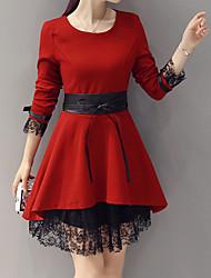 abordables -Femme Sortie Courte Robe - Style classique Style coe+D7404ur Style papillons, Couleur Pleine Couleur unie Au dessus du genou