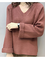 abordables -Mujer Manga Larga Cachemira Largo Cardigan - Un Color Escote en Pico