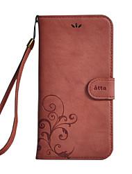 Недорогие -Кейс для Назначение Apple Бумажник для карт Кошелек со стендом Флип Цветы Твердый для