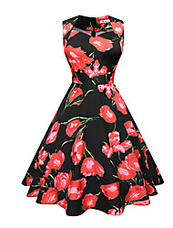 baratos -Mulheres Trabalho Bainha balanço Vestido Floral Decote U Cintura Alta