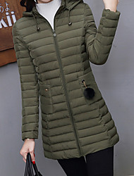 cheap -Women's Long Down Coat,Casual Daily Solid-Cotton Polyester Long Sleeve