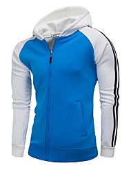cheap -Men's Plus Size Hoodie - Color Block Hooded