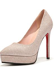 preiswerte -Damen Schuhe Paillette PU Frühling Sommer Komfort Pumps High Heels Stöckelabsatz Spitze Zehe für Hochzeit Party & Festivität Gold Silber
