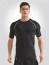 cheap -Men's Running Shirt with Shorts - White, Yellow Sports Tee / T-shirt Fitness, Gym, Workout Short Sleeve Activewear Fast Dry, Breathability