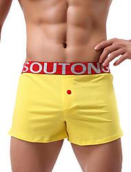 cheap -Men's Micro-elastic Boxers Underwear Opaque,Cotton One-piece Suit Green White Yellow Light Blue
