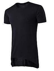 abordables -Hombre Algodón Camiseta, Escote Redondo Un Color / Manga Corta