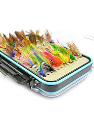 cheap -64 pcs Fishing Lures Flies Soft Bait Feather Carbon Steel Sea Fishing Fly Fishing Bait Casting Jigging Fishing Freshwater Fishing General