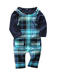 cheap -Baby Boys' Daily Plaid Clothing Set, Cotton Spring Casual Long Sleeves Navy Blue