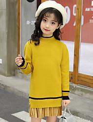 preiswerte -Mädchen Pullover & Cardigan Solide Baumwolle Frühling Herbst Langärmelige Niedlich Aktiv Zeichentrick Braun Grün Schwarz Gelb