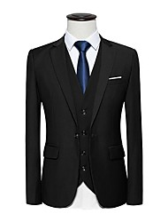 cheap -Men's Work Casual Spring Fall Blazer,Solid Peaked Lapel Long Sleeve Regular Cotton Spandex
