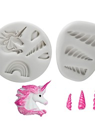 Недорогие -Инструменты для выпечки силикагель Антипригарное покрытие / Инструмент выпечки / 3D Печенье / Шоколад / Для приготовления пищи Посуда Формы для пирожных 2pcs