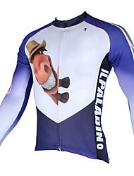 abordables -ILPALADINO Homme Manches Longues Maillot de Cyclisme - blanc + bleu ciel Bande dessinée / Animal Vélo Maillot, Séchage rapide, Résistant