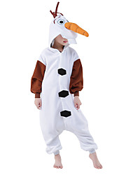 cheap -Kigurumi Pajamas Snowman / Anime Onesie Pajamas Costume Polar Fleece White Cosplay For Kid's Animal Sleepwear Cartoon Halloween Festival