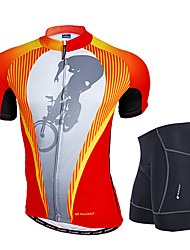 cheap -Nuckily Men's Short Sleeves Cycling Jersey with Shorts - Orange Geometic Bike Clothing Suits, Anatomic Design, Breathable, Reflective