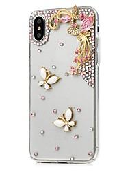 Недорогие -Кейс для Назначение Apple iPhone X / iPhone 8 Plus Стразы / С узором Чехол Цветы Твердый Кожа PU для iPhone X / iPhone 8 Pluss / iPhone 8