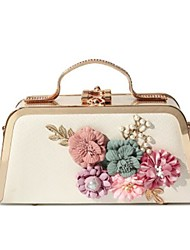 cheap -Women's Bags PU Shoulder Bag Buttons Flower for Casual All Seasons Gold White Black Blushing Pink Purple