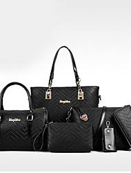 baratos -Mulheres Bolsas Couro Ecológico Conjuntos de saco 6 Pcs Purse Set Estampa para Compras Casual Todas as Estações Azul Branco Preto Rosa