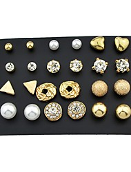 cheap -Women's Rhinestone 24pcs Stud Earrings - Basic / Rock Gold , Earrings For Daily / Date