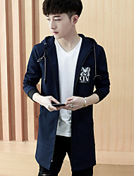 cheap -Men's Simple Long Jacket-Solid Colored Letter Hooded