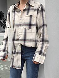 cheap -Women's Daily Casual Fall Shirt,Check Shirt Collar Long Sleeve Cotton Opaque