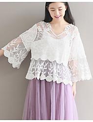 Недорогие -Жен. Рубашка Хлопок, V-образный вырез Уличный стиль Однотонный