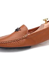 靴 レザー 春 秋 コンフォートシューズ ローファー&スリップアドオン のために カジュアル ホワイト イエロー Brown