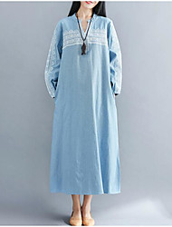 cheap -Women's Vintage Loose Dress - Solid Colored