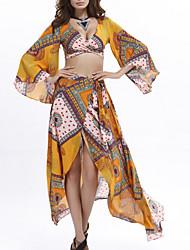 abordables -Set Robes Costumes Femme,Imprimé Quotidien Bohème Eté Manches longues Col en V Mince Polyester Micro-élastique