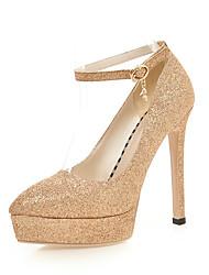 Недорогие -Для женщин Обувь Блестки Дерматин Весна Лето Удобная обувь Туфли лодочки Обувь на каблуках На шпильке Открытый мыс Круглый носок Пайетки