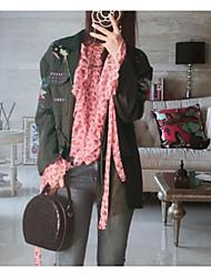 Недорогие -Для женщин На выход Зима Осень Куртка Воротник Питер Пен,Уличный стиль Однотонный Обычная Длинные рукава,Полиэстер