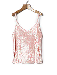 cheap -Women's Vintage Polyester Tank Top - Solid V Neck