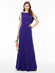 cheap -Mermaid / Trumpet Jewel Neck Floor Length Satin Velvet Bridesmaid Dress with Sash / Ribbon Split Front Pleats by LAN TING BRIDE®