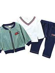 cheap -Boys' Daily Sports Striped Clothing Set, Cotton Spring Fall Long Sleeves Casual Active Brown Green Navy Blue