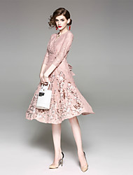 cheap -Women's Cute Street chic Sheath Dress - Solid Colored Deep V