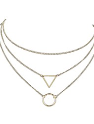 Недорогие -Жен. Многослойный Слоистые ожерелья обернуть ожерелье Дамы Простой Многослойный Золотой Серебряный Ожерелье Бижутерия 3 Назначение Повседневные Свидание
