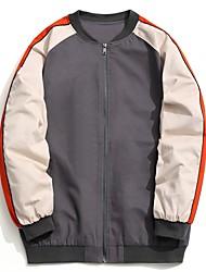 cheap -Men's Plus Size Jacket - Color Block, Patchwork Stand