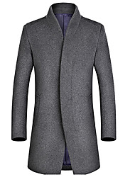 cheap -Men's Work Vintage Plus Size Coat - Solid Color Block Stand