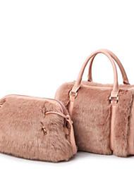 abordables -Mujer Bolsos Pelo / PU Conjuntos de Bolsa 2 piezas de monedero conjunto Plumas / Piel / Cremallera Negro / Rosa / Blanco lechoso